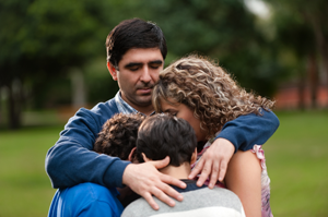 family grieving together